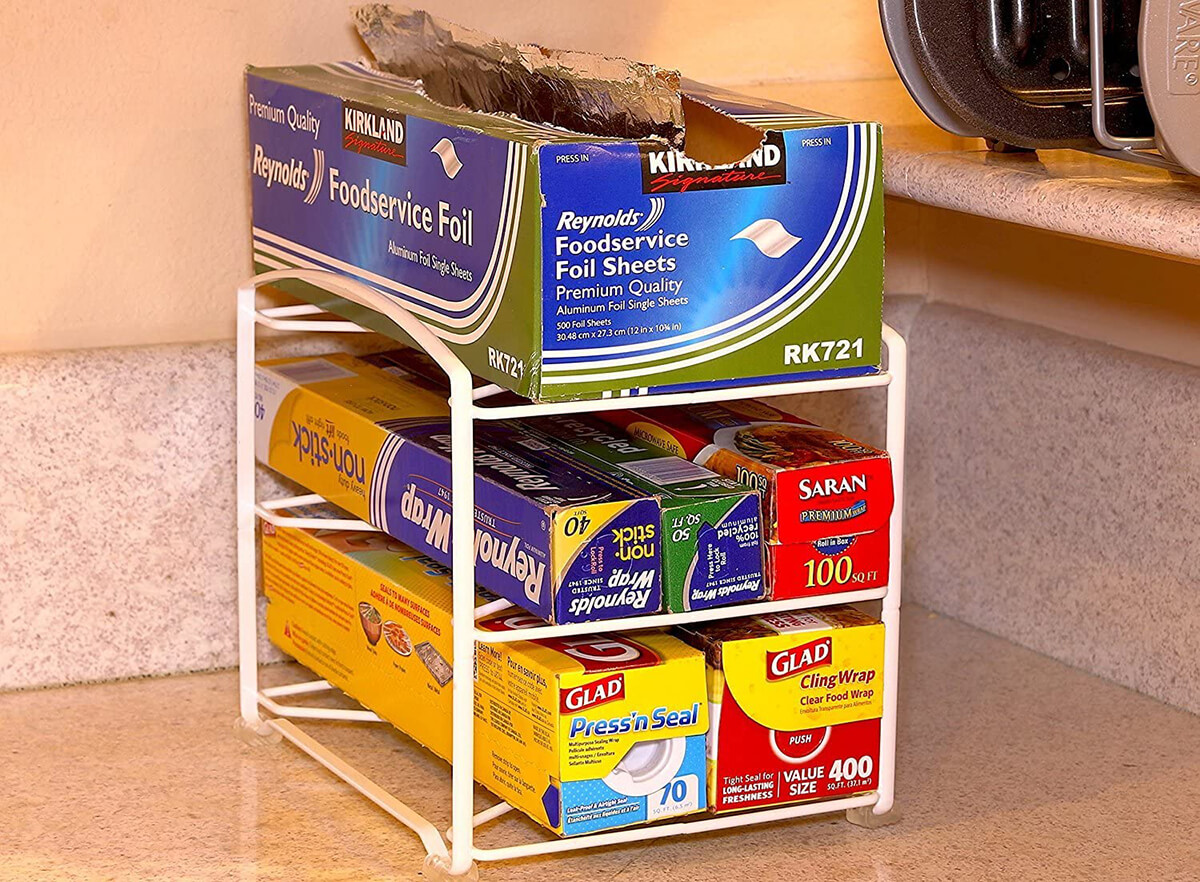 Kitchen Wrap Organizing Rack with Three Shelves