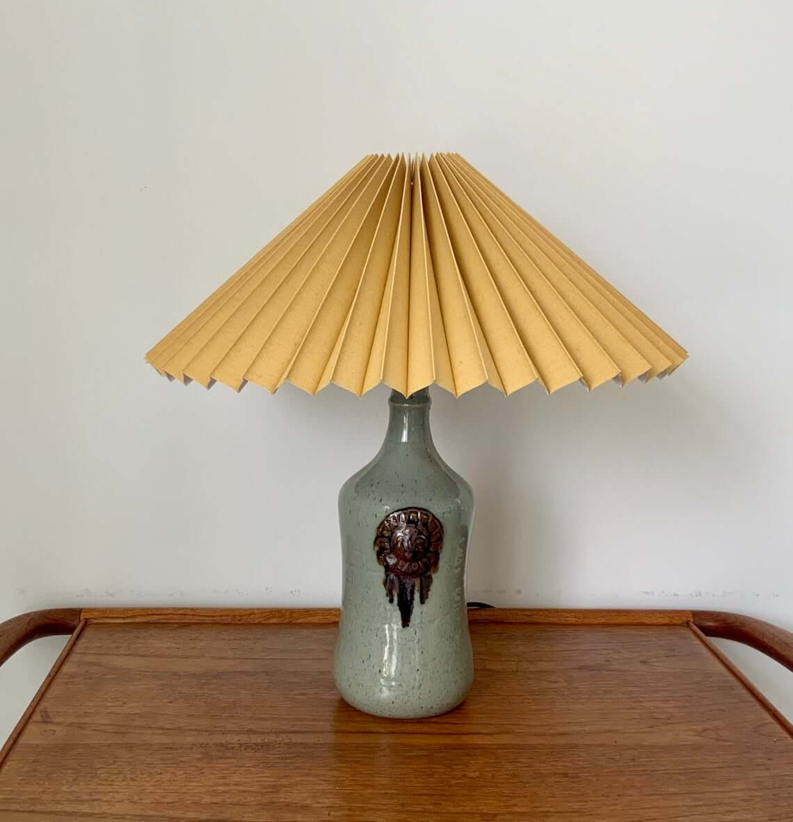 Pleated Lamp Shade with Pottery Lamp