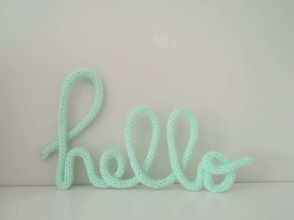Crocheted Rope Greeting in Mint