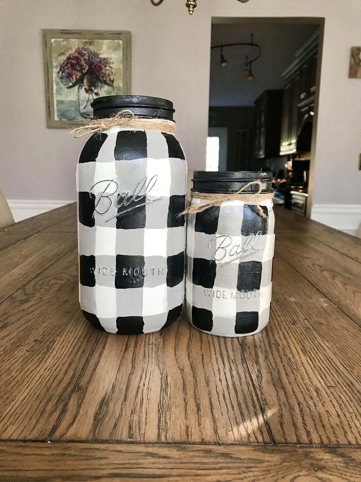 Wonderful Buffalo Plaid Mason Jars