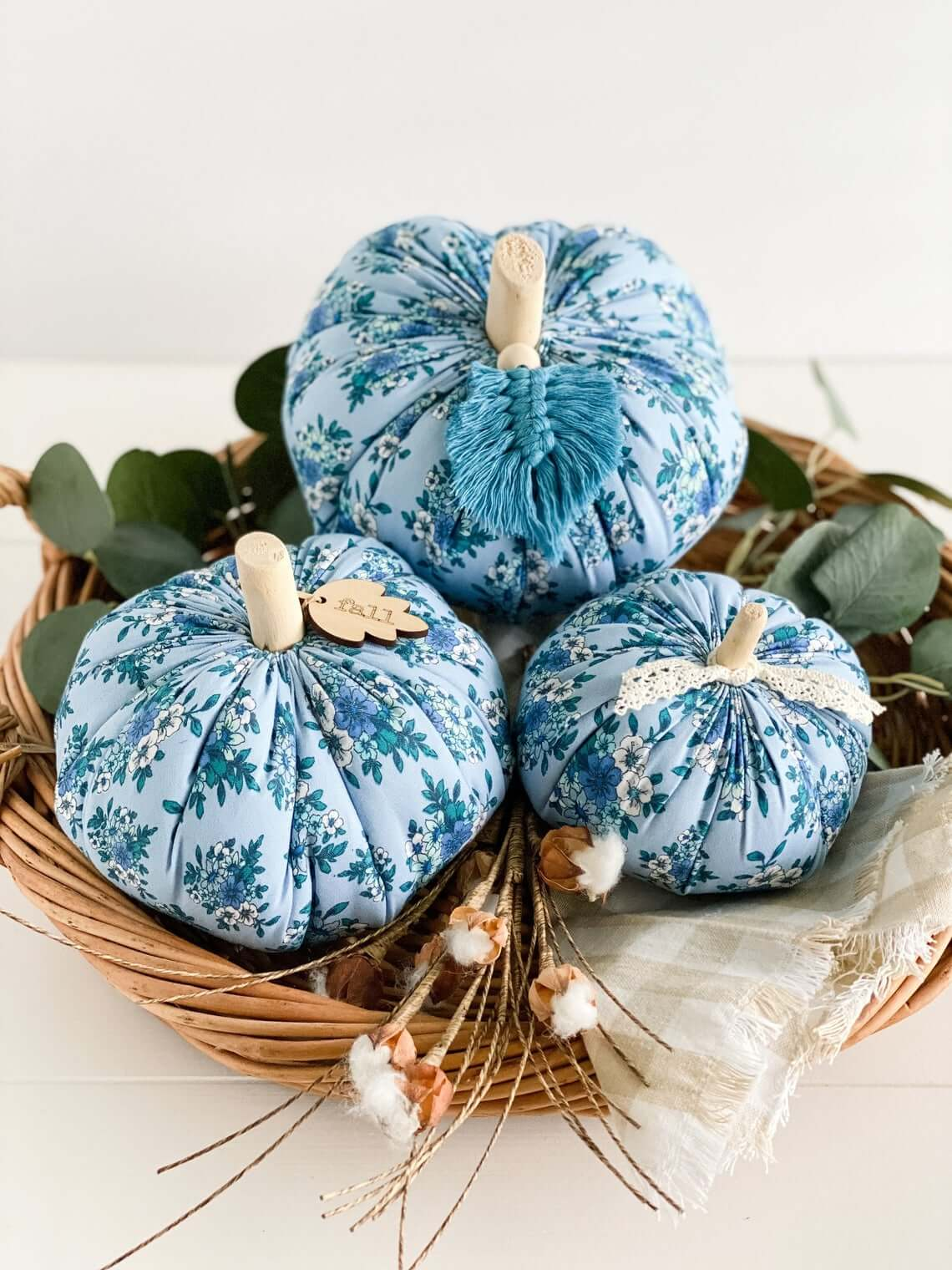 French Country Blue Floral Pumpkin