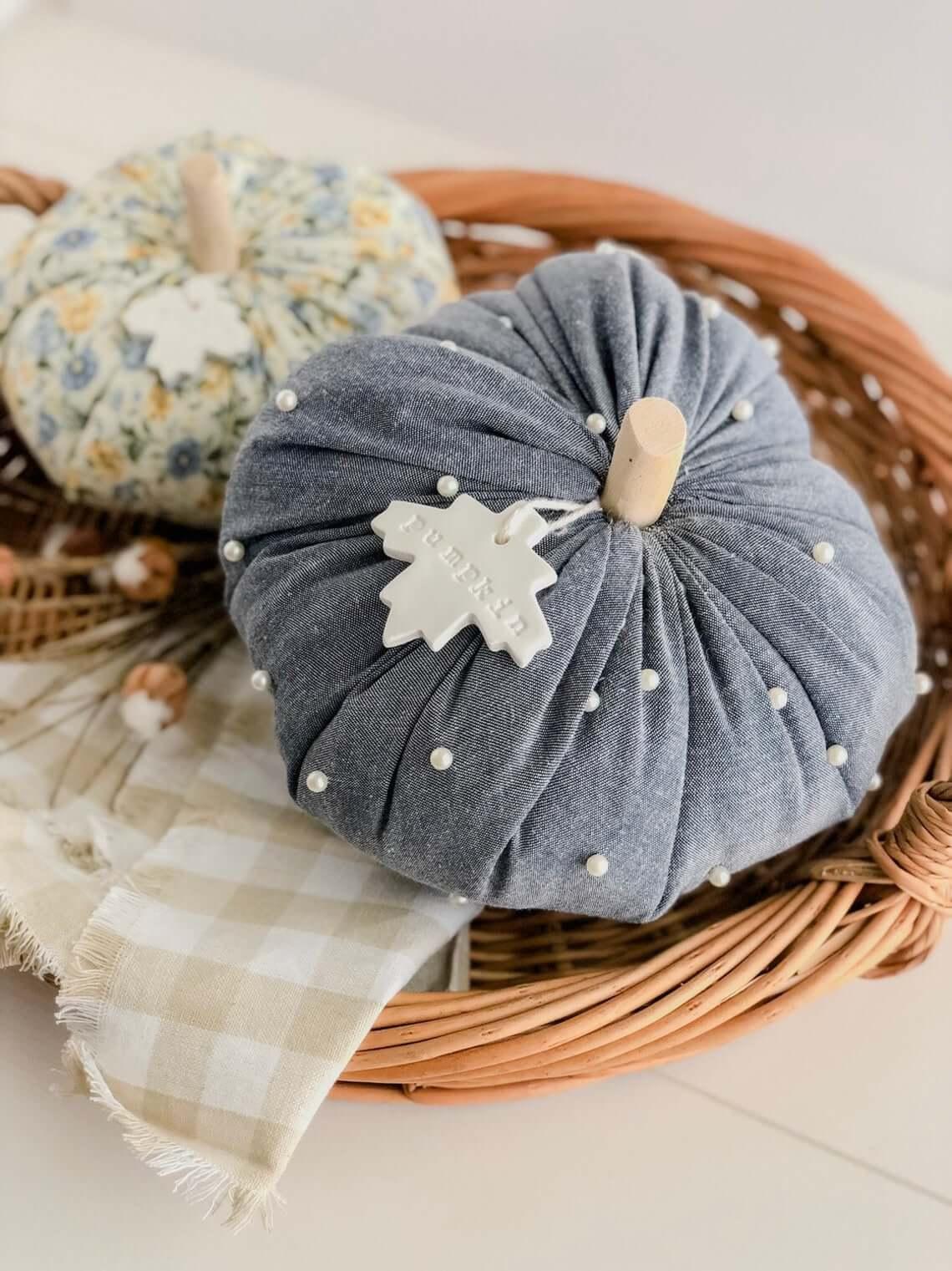 Spectacular Stem Stopper Fabric Pumpkin