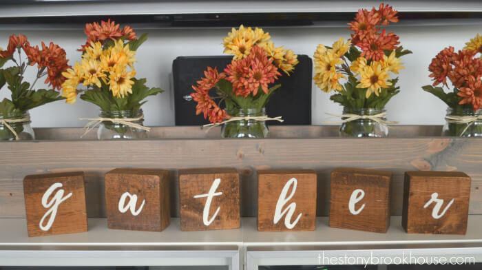 Hand-painted Wooden Letters to Spell Out Gather