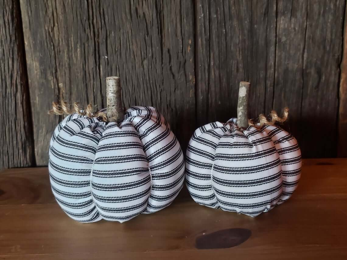 Stripes of Black and White Fabric Pumpkins