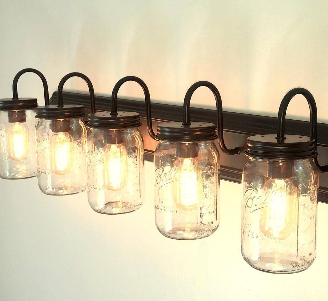 5-Way Mason Jar Vanity Wall Scone Light
