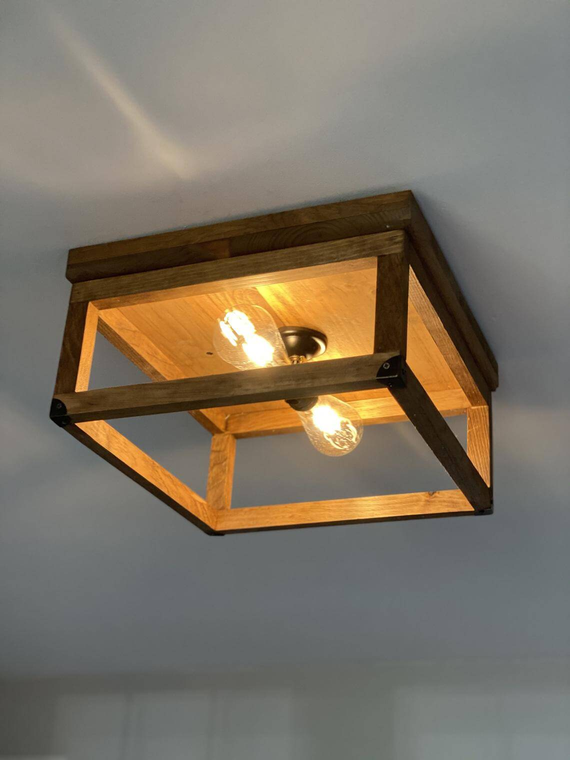 Square Flush Wooden Hanging Light Fixture