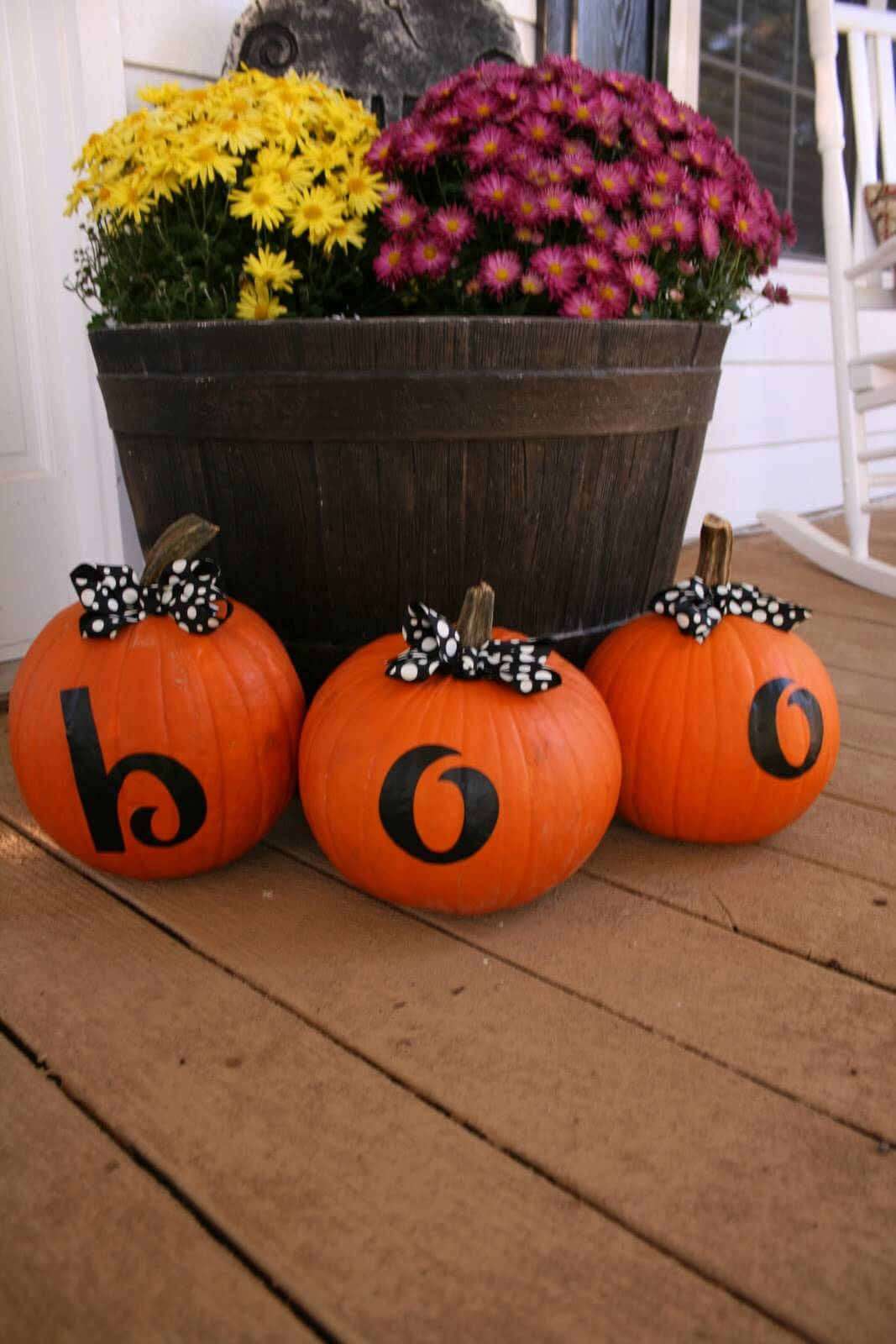 Triple Boo-Bow Porch Pumpkin