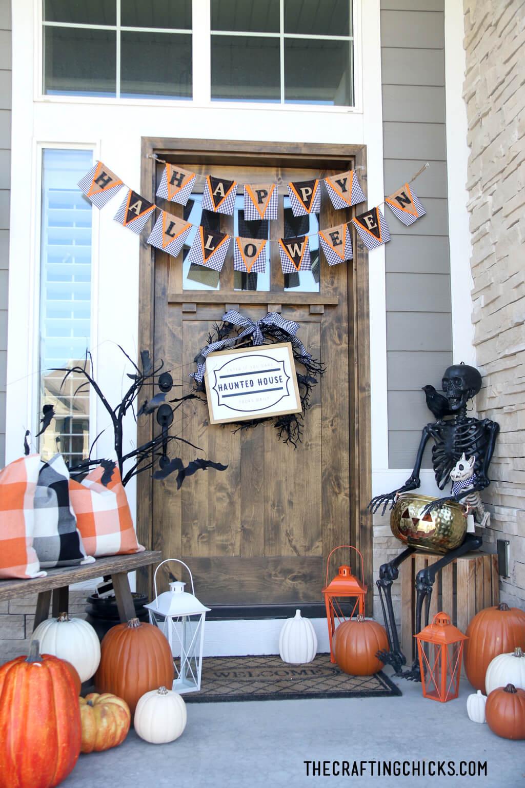 Cute, Spooky and Pumpkin Plaid Halloween Porch