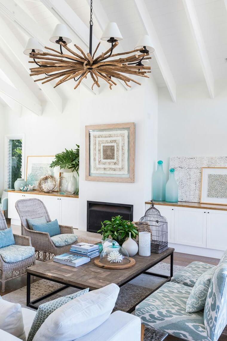 Coastal Living Room with Aqua Details
