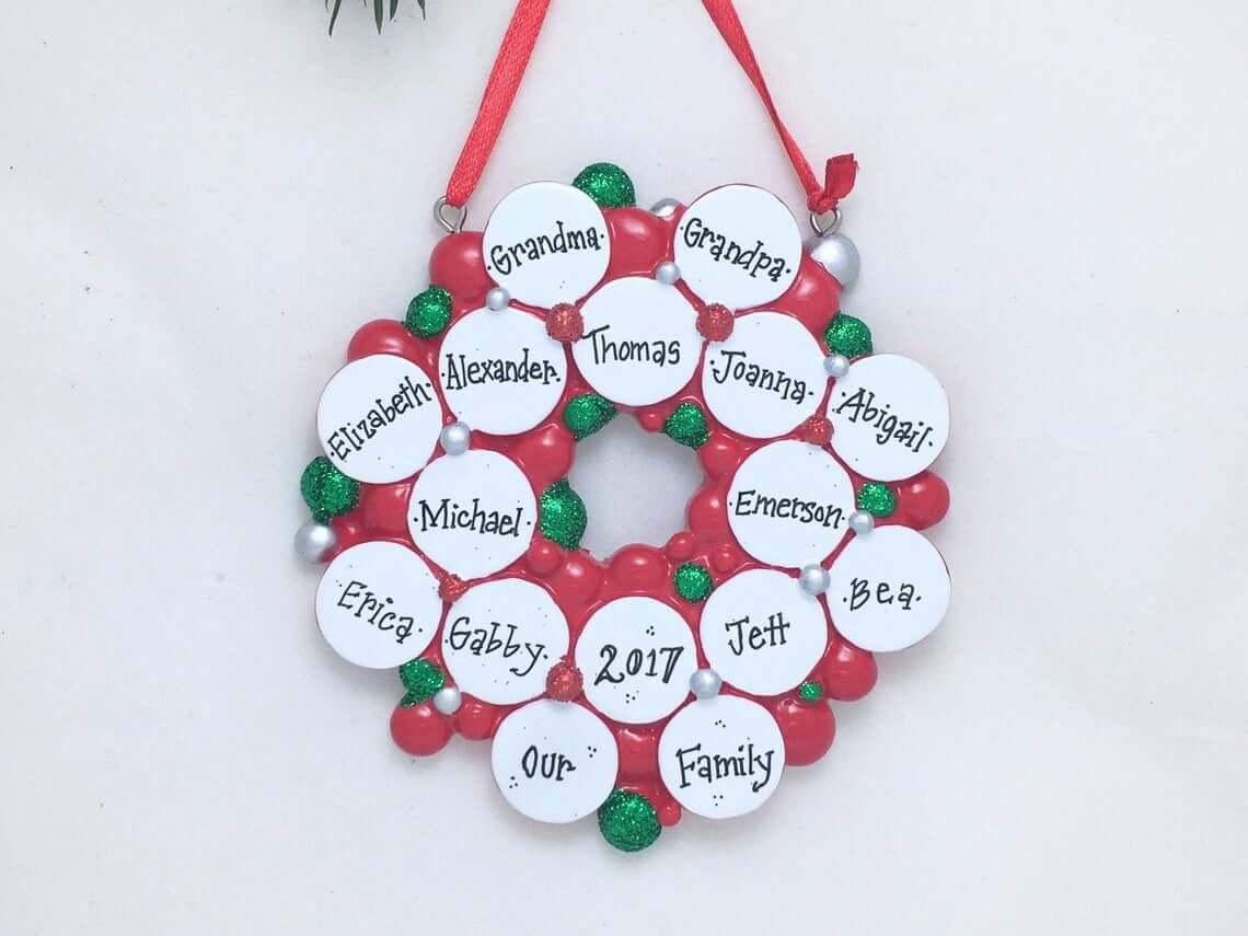 Grandparents Bauble Wreath Gift Featuring Grandchildren's' Names