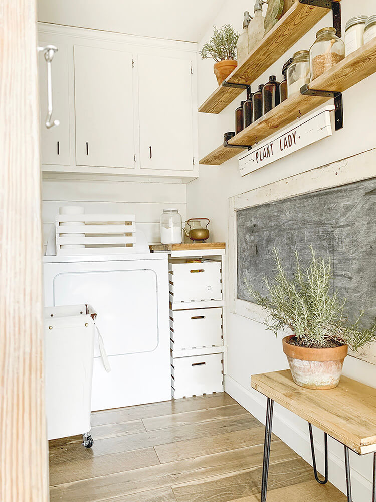 Modern Farmhouse Laundry Nook with Chalkboard Wall