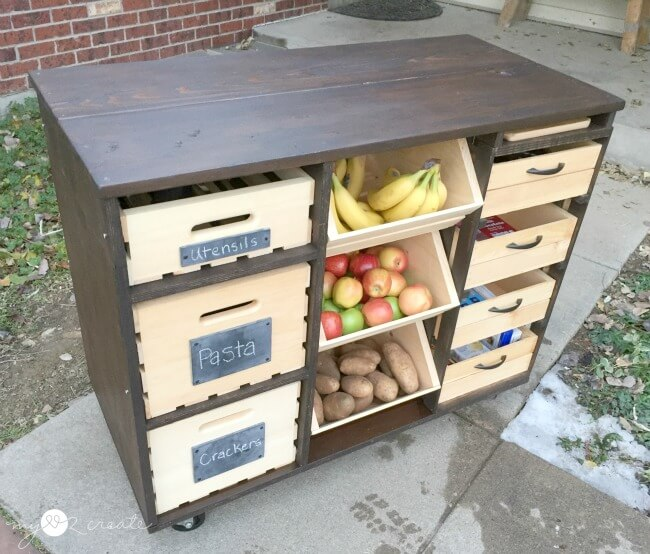 Kitchen Counter Fruit And Utensil Storage Cabinet