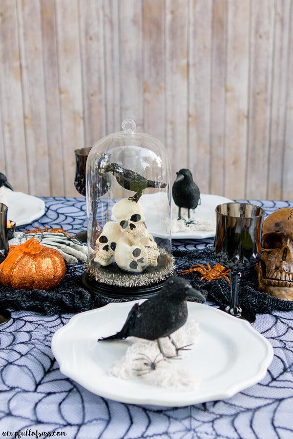Dark Creepy Halloween Table Setup