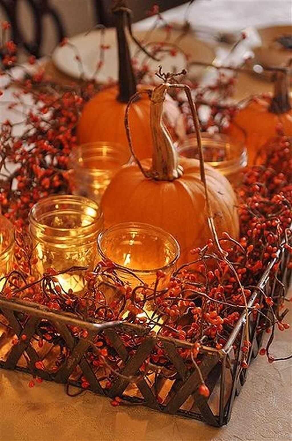 Holiday Pumpkin Theme Tabletop Decorative Tray