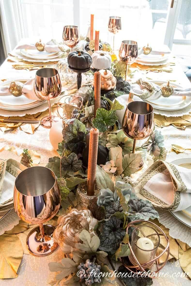 Copper and Faux Plants Centerpiece