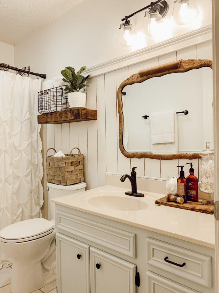 Shiplap and Wood Bathroom Makeover