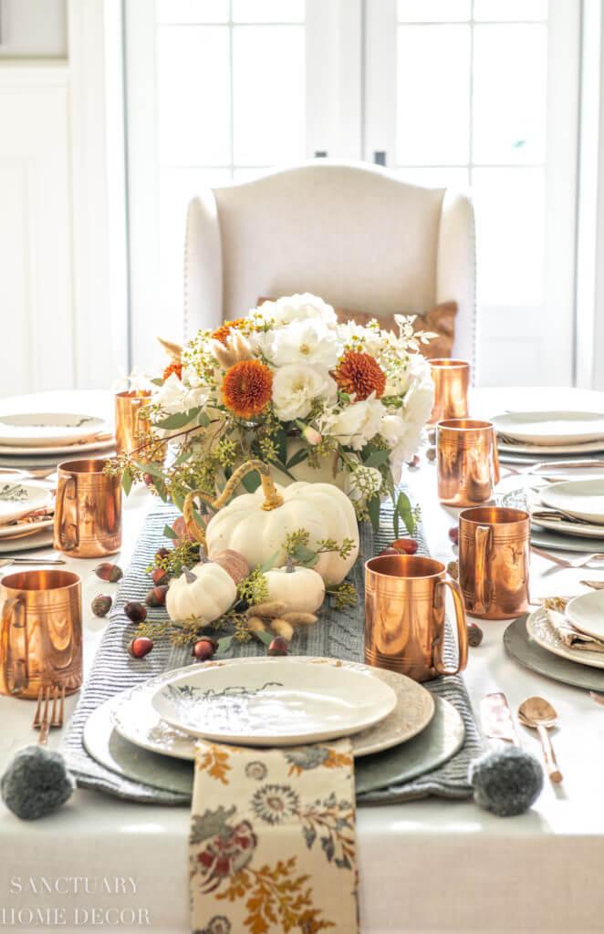 Cream and Pumpkin Bounty Bouquet Centerpiece