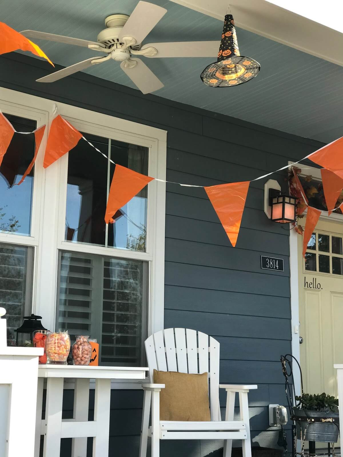 White String Banner with Orange Pennants