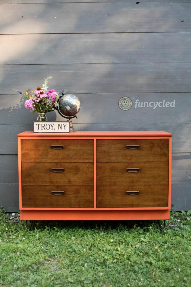 Mid Century Burnt Orange Home Decor Dresser