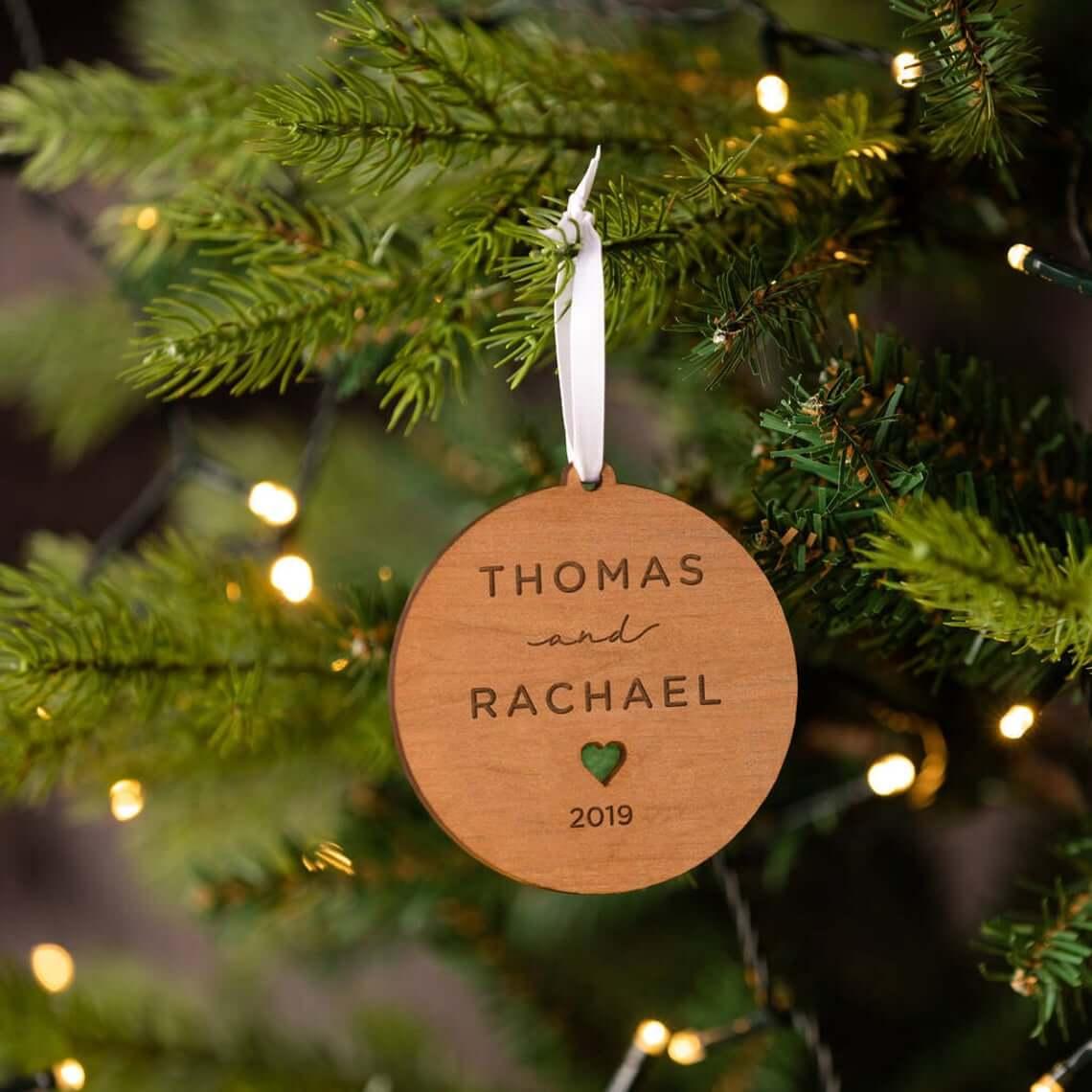 Engraved Wooden Couple's Celebration Bauble