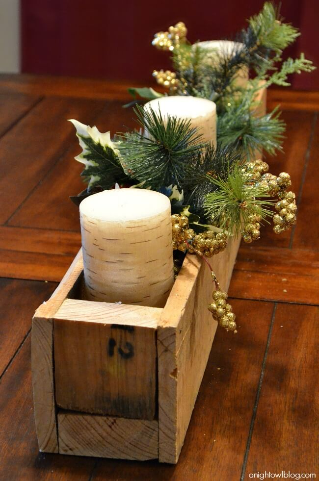 Warm Wooden Glow with Candles and Pine