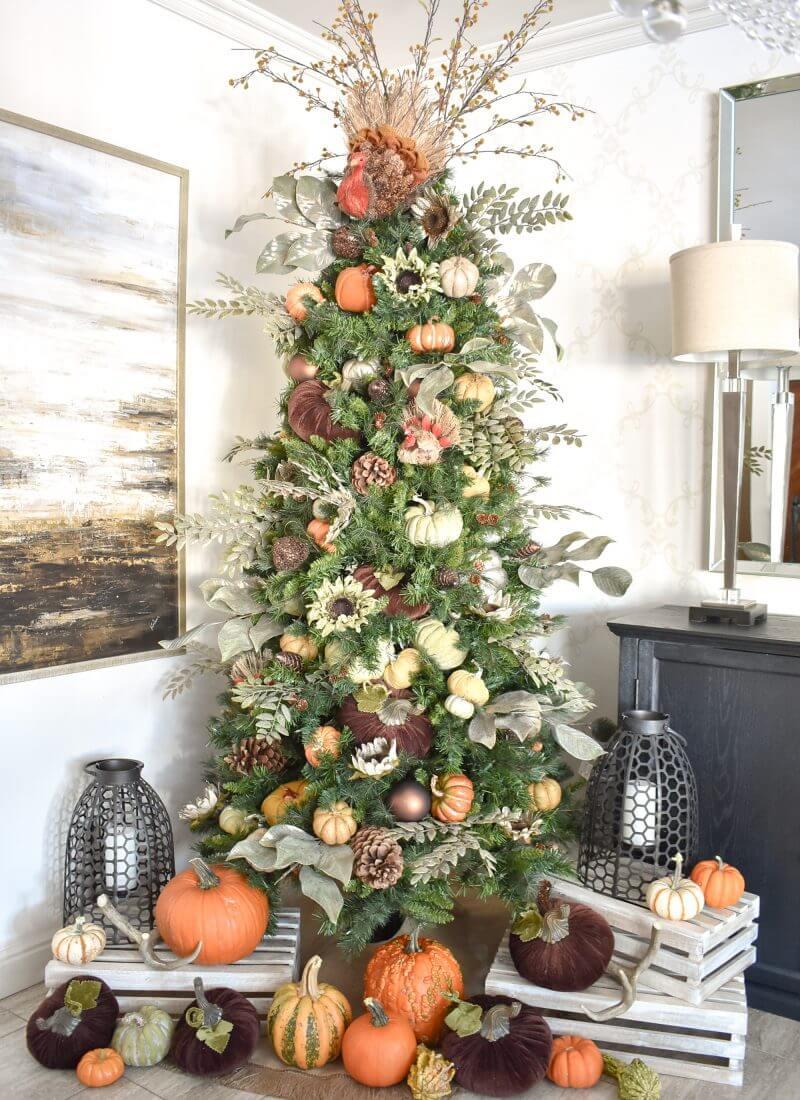 Elegant Evergreen Thanksgiving Holiday Tree