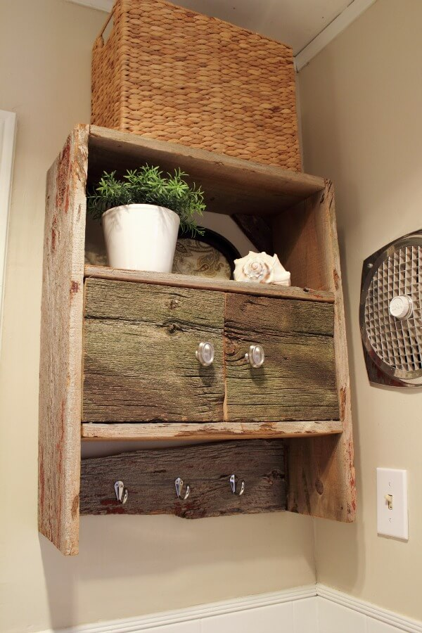 Rustic Wooden Bathroom Storage Cabinet