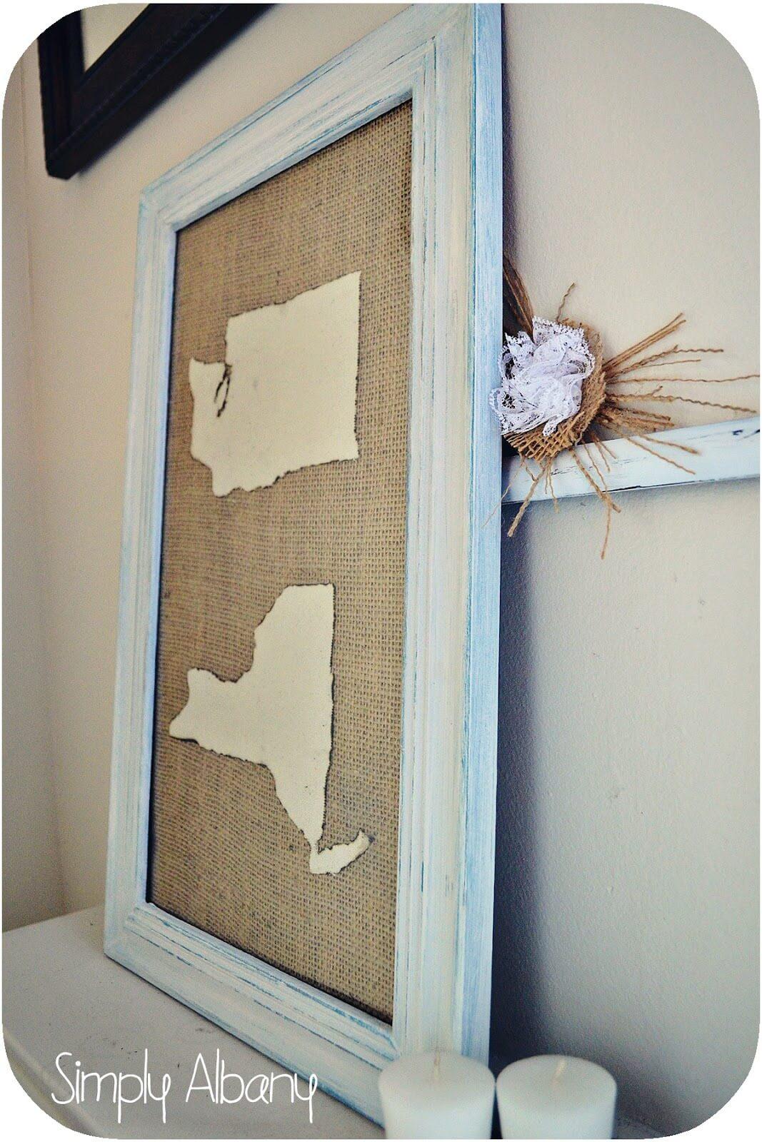 Burlap Fabric Hanging Map Art
