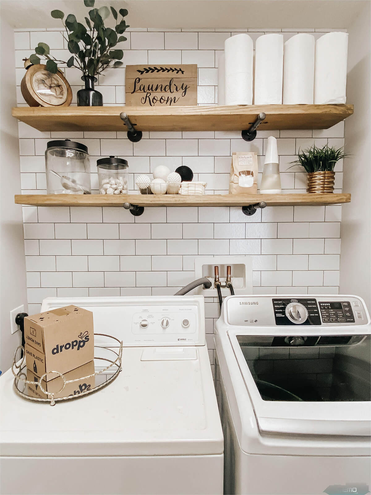 Classic White Subway Tile Laundry Wall