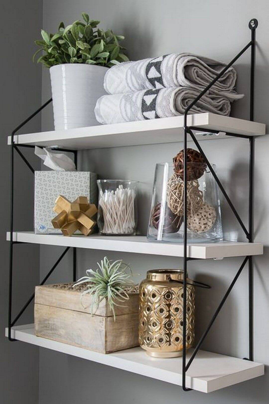 Mounted Shelves with Wood Panels and Wire