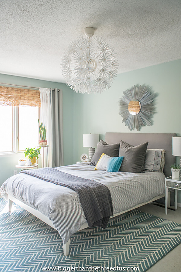 Mid-Century Modern Sunburst Mirror Master Bedroom