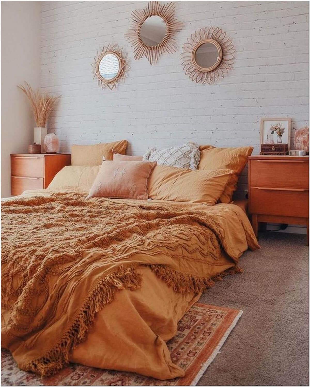 Lively Burnt Orange and Brown Bedroom Setup