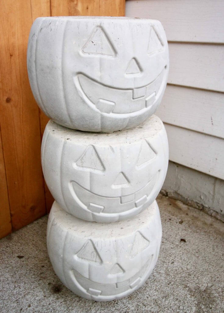 Stacked White Jack O'Lantern Display