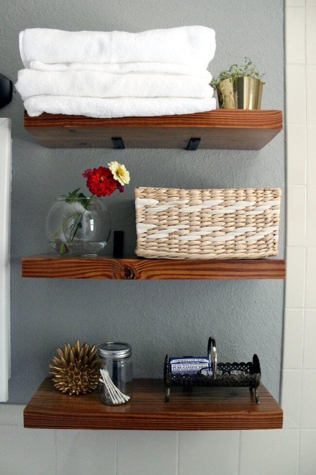 "Dark Stained ""Floating"" Wooden Shelves"