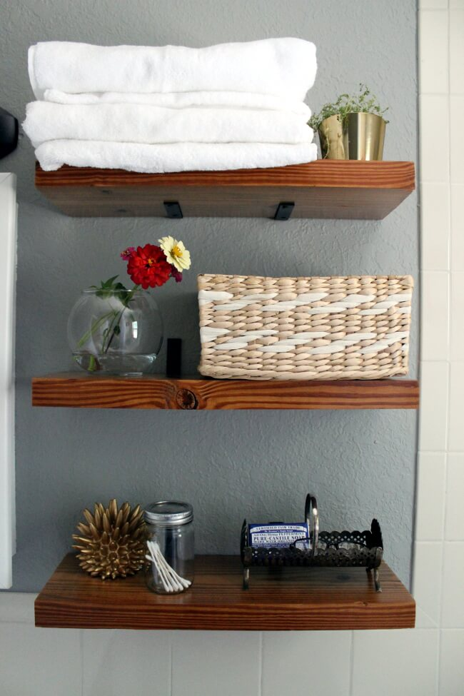 """Dark Stained """"Floating"""" Wooden Shelve"""