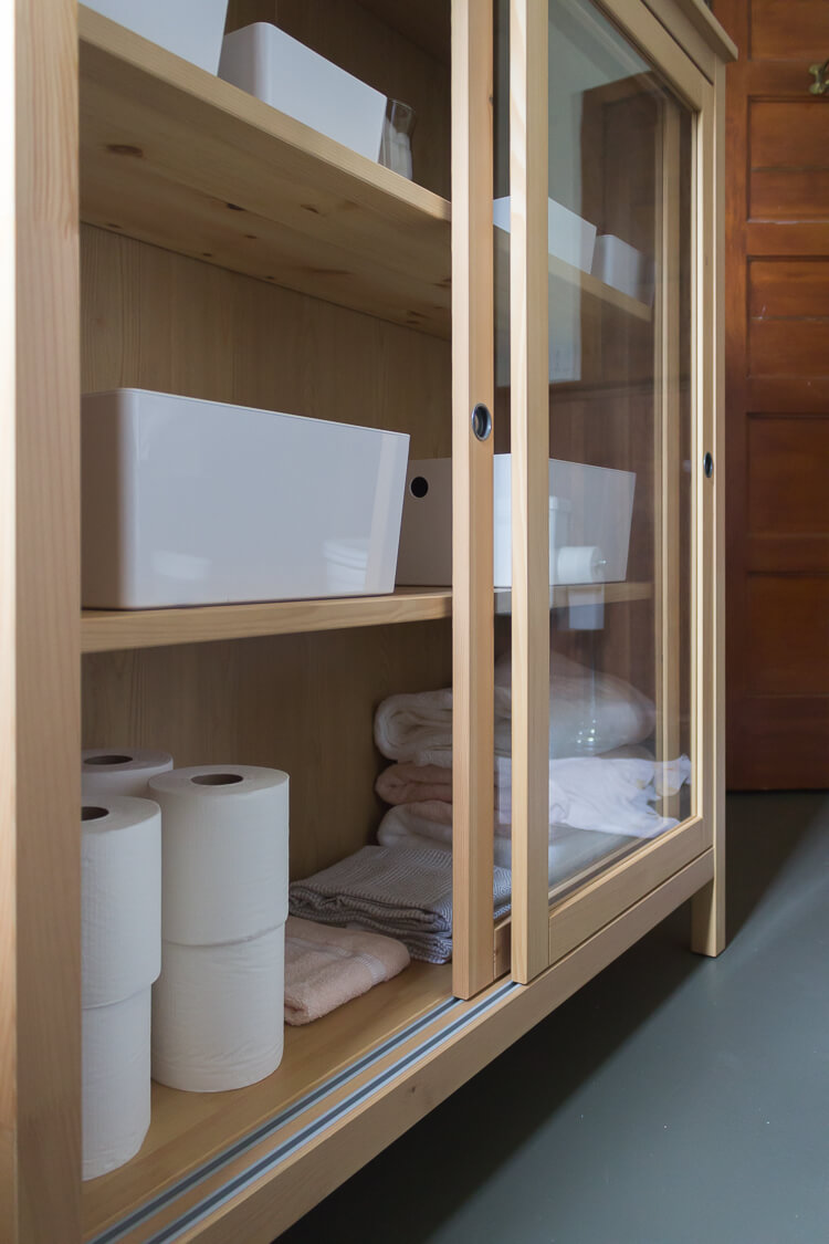 Raw Wood Cabinet with Sliding Glass Doors