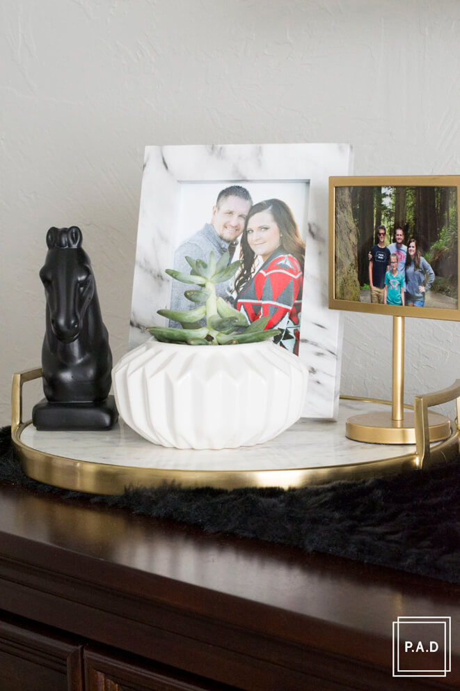 Gold and Marble Nightstand Tray