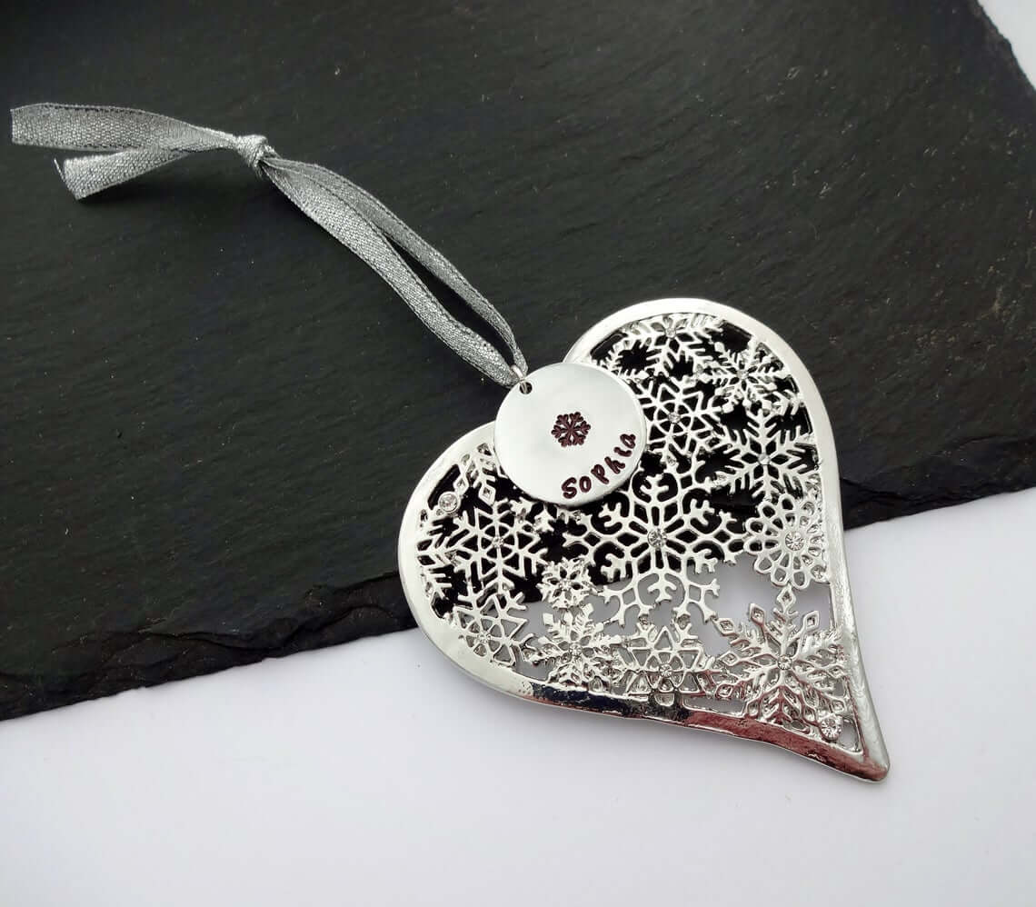 Heart Shaped Glass Bauble With Charm