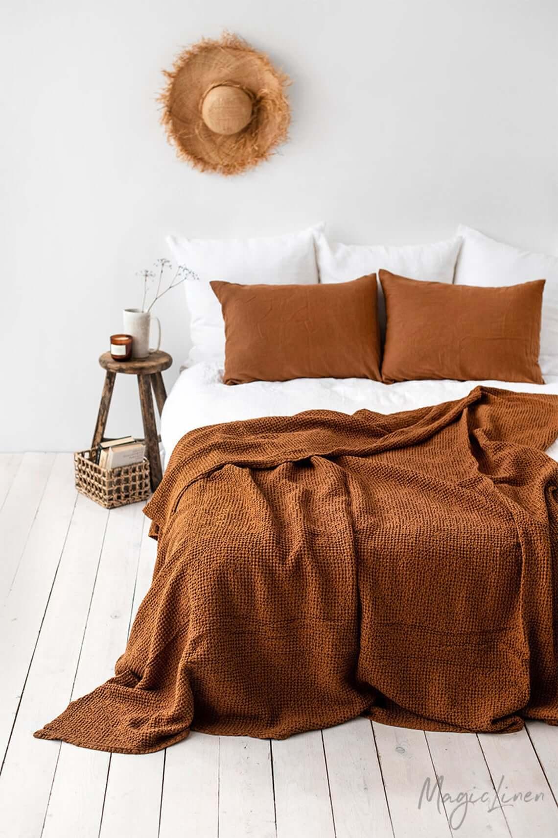 Cinnamon Waffle Linen Throw Blanket