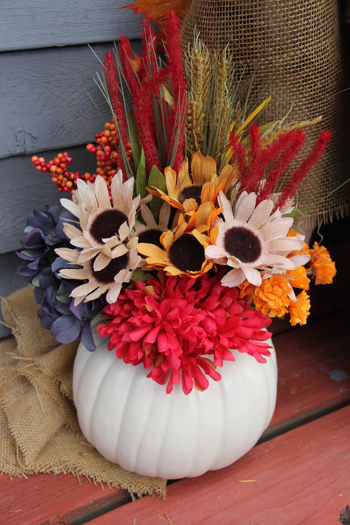 Colorful Crafty Floral Pumpkin Centerpiece