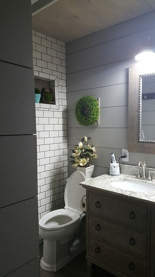 Shiplap and Tiled Bathroom Decorating