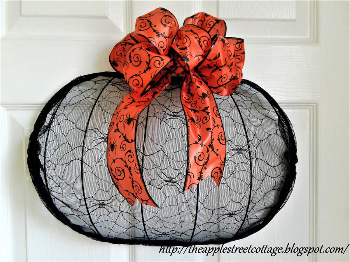 Stretch Lace Spider Pumpkin with Bow