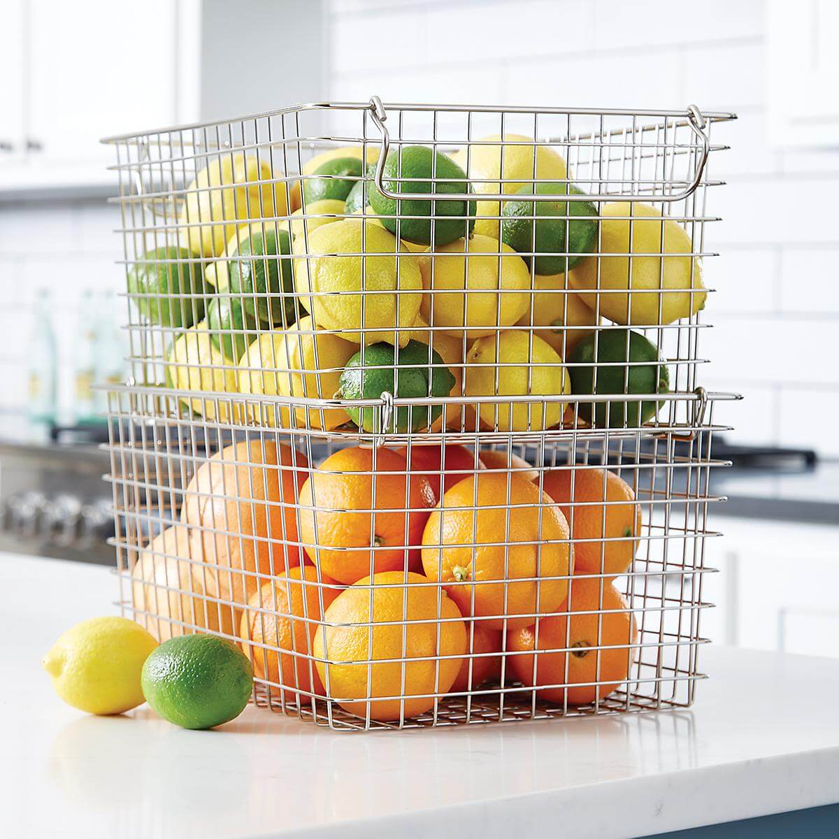 Stacking Metal Basket And Kitchen Storage