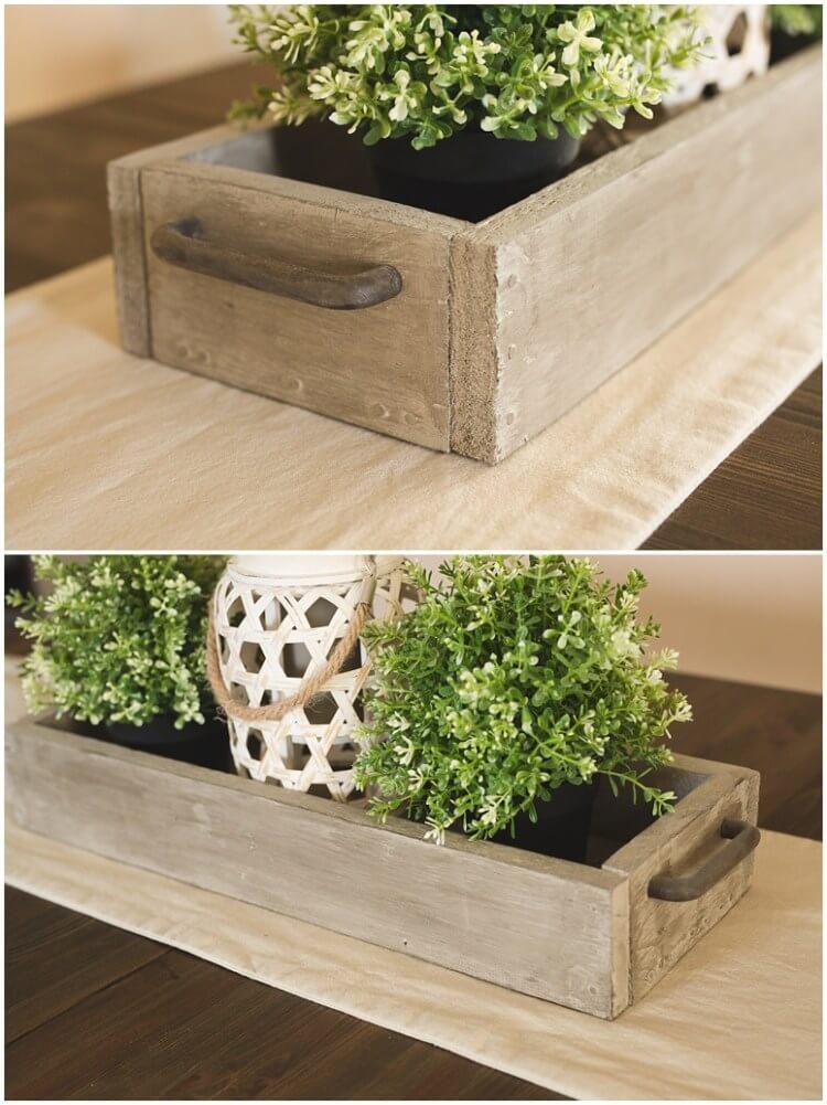 Rustic Barn Wood Box with Metal Handle