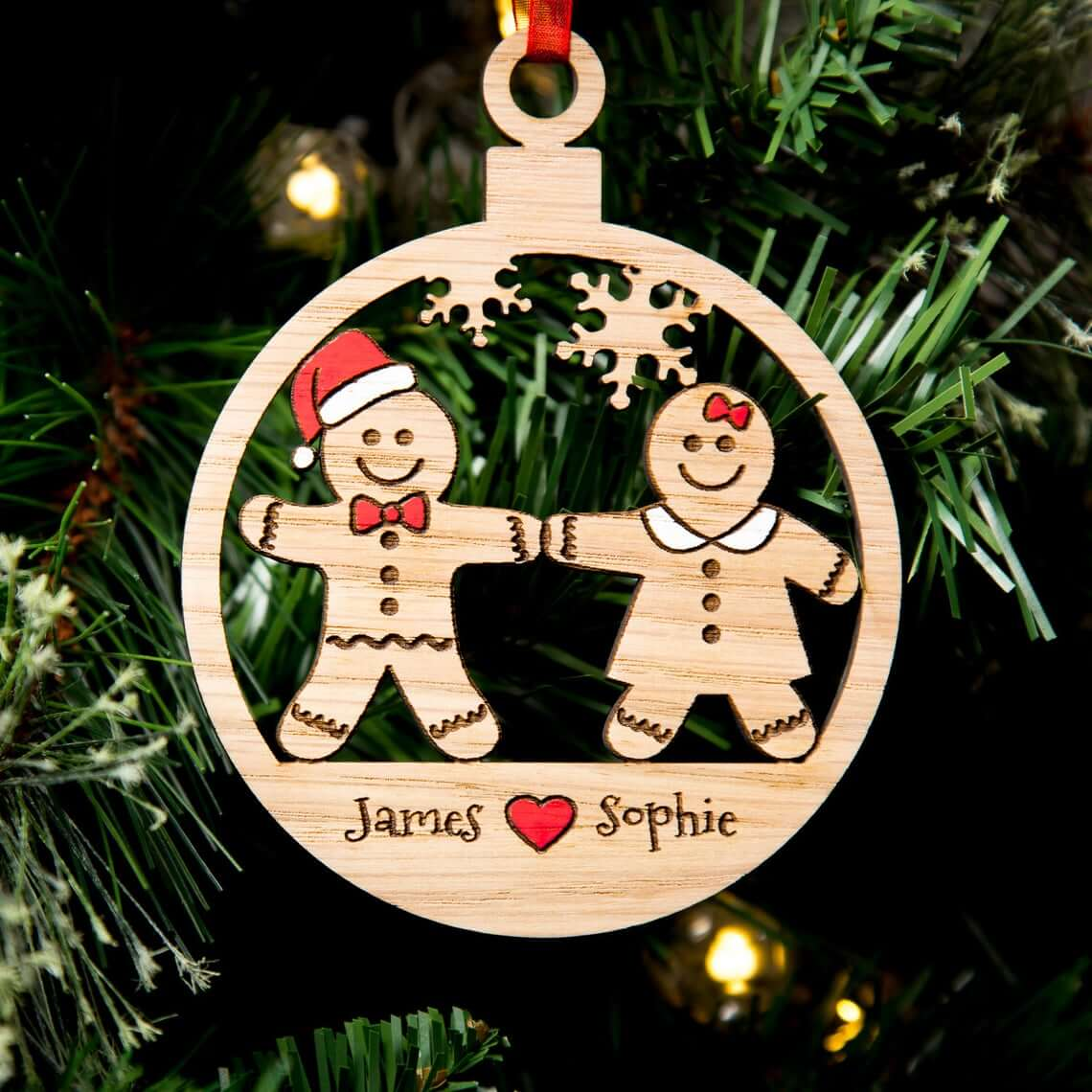Wooden Gingerbread People Cut Personalized Bauble