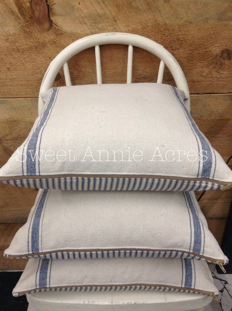 Rustic Pillow Covers with Blue Stripe