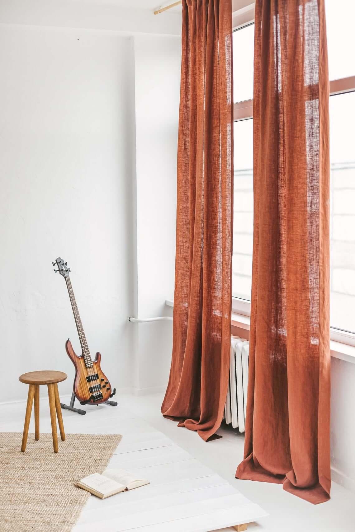 Rusty Long Linen Window Drape