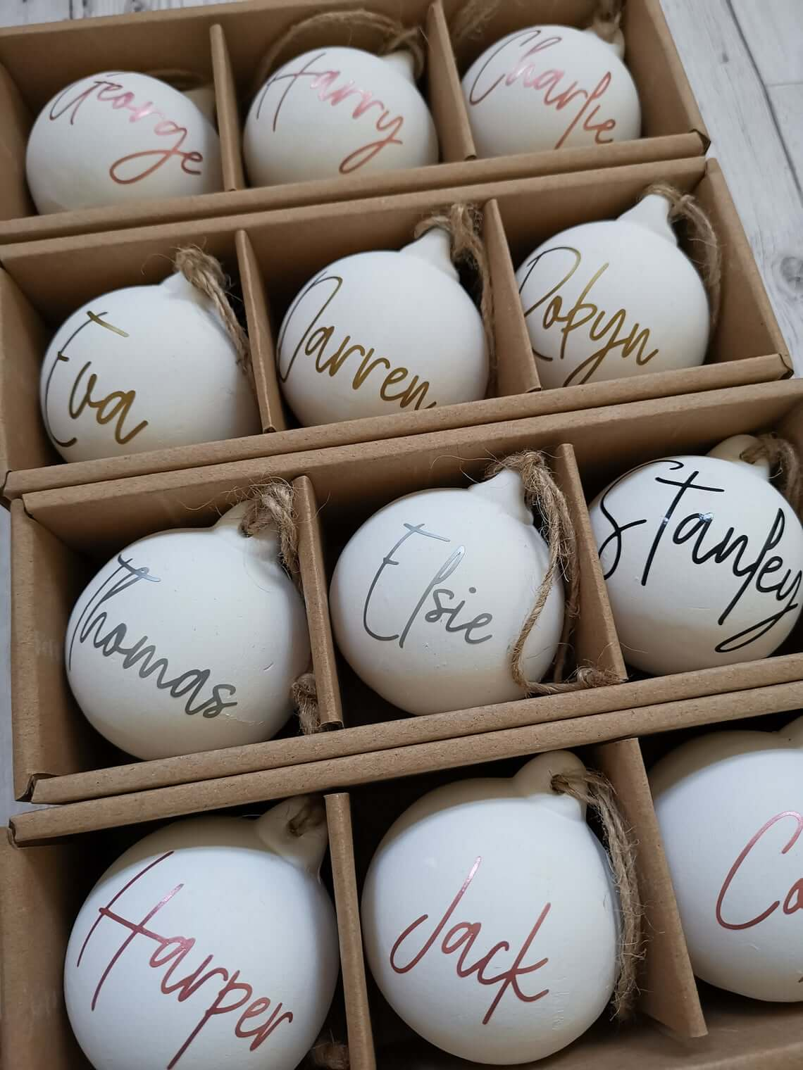 White Frosted Personalised Baubles With Jute Cording