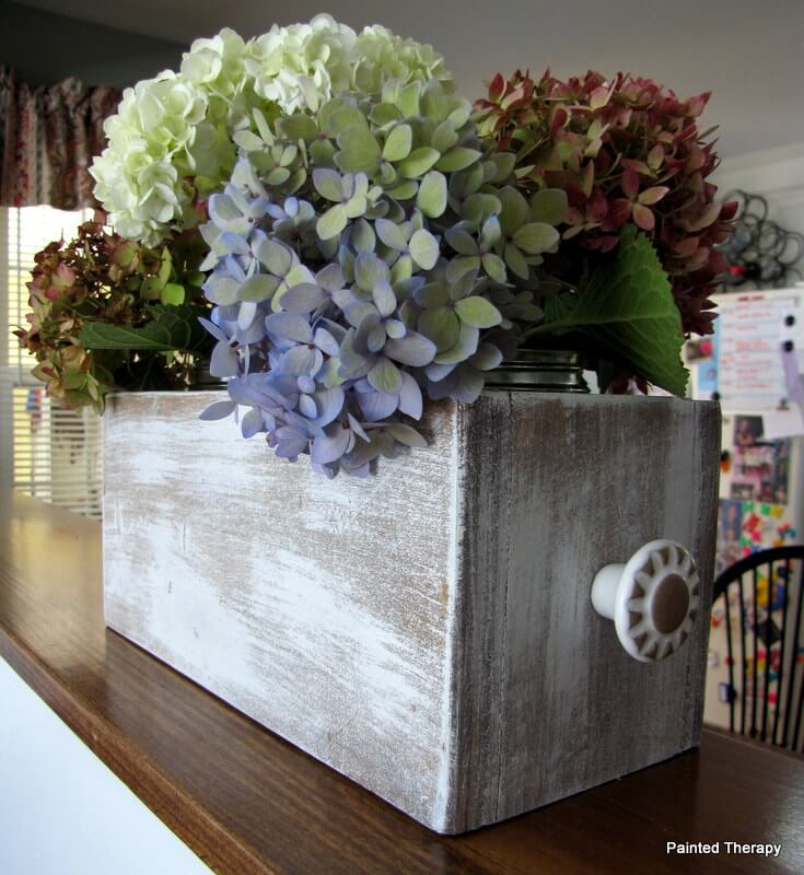 Distressed Gray Wooden Box with Decorative Knob