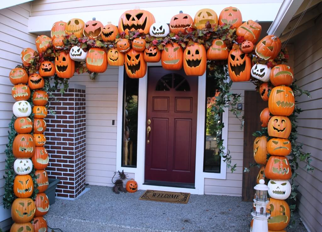 Multicolor Foam Jack O'Lantern Stacked Archway